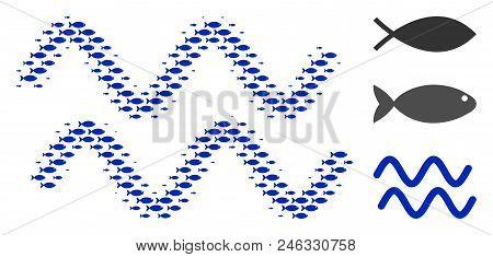 Fish Sinusoid Waves Halftone Collage. Vector Fish Items Are Composed Into Sinusoid Waves Collage. Oc