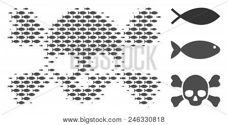 Fish Skull Crossbones Halftone Collage. Vector Fish Items Are Combined Into Skull Crossbones Collage