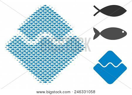 Fish Waves Currency Halftone Collage. Vector Fish Items Are United Into Waves Currency Collage. Seaf
