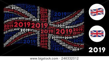 Waving Uk Official Flag Pattern Composed Of 2019 Year Text Elements. Vector 2019 Year Text Elements
