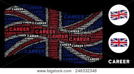 Waving English State Flag Collage Made Of Career Text Elements. Vector Career Texts Are United Into