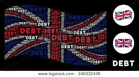 Waving English Flag Collage Created Of Debt Words. Vector Debt Word Items Are United Into Geometric