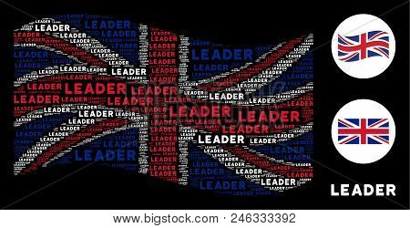 Waving English Flag Collage Constructed Of Leader Text Design Elements. Vector Leader Text Items Are
