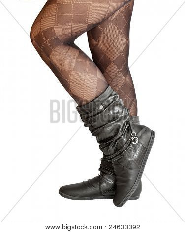 female legs in pantyhose and shoes isolated on a white background poster