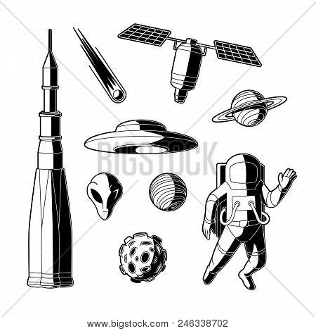Space, Cosmos Objects Silhouette Icon Set. Planet With Ring, Craters, Comet, Satellite Asteroid Or M