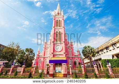 Tan Dinh parish church or Church of the Sacred Heart of Jesus is a church located in Ho Chi Minh City in Vietnam poster