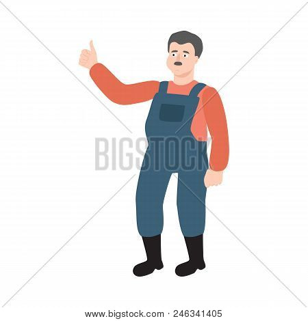 Flat Farmer Man In Professional Uniform - Rubber Boots, Overalls Showing Thumbs Up Gesture. Agricult