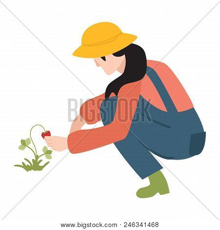 Flat Farmer Woman In Professional Uniform - Rubber Boots, Overalls, Hat Working In Garden With Straw