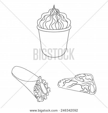 Fast Food Outline Icons In Set Collection For Design.food From Semi-finished Products Vector Symbol