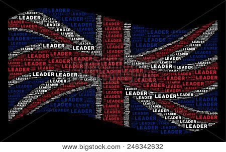Waving British Official Flag On A Black Background. Vector Leader Texts Are Organized Into Mosaic En