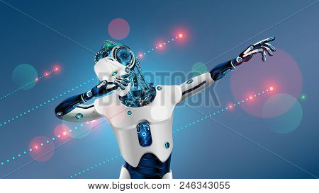 Robot Or Cyborg Dabbing On Party. Android In Dab Pose. Cybernetic Man With Artificial Intelligence D