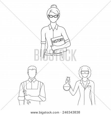 People Of Different Professions Outline Icons In Set Collection For Design. Worker And Specialist Ve