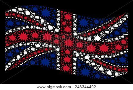 Waving English State Flag On A Black Background. Vector Bang Icons Are United Into Geometric Great B
