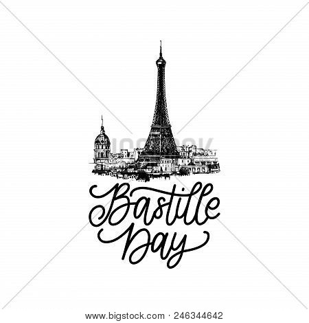 Bastille Day Design. Drawn Illustration Of Eiffel Tower. French National Day Background. 14th July C