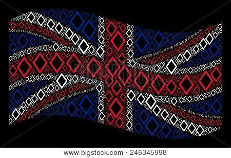 Waving Uk Official Flag On A Black Background. Vector Contour Rhombus Pictograms Are Formed Into Geo