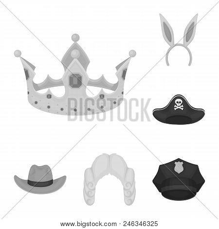 Different Kinds Of Hats Monochrome Icons In Set Collection For Design.headdress Vector Symbol Stock