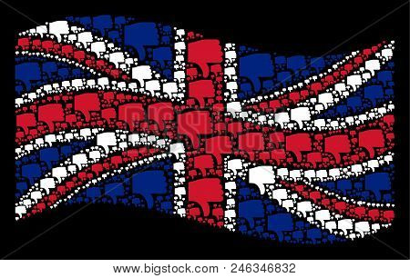 Waving Great Britain Flag On A Black Background. Vector Thumb Down Items Are Grouped Into Mosaic Uk