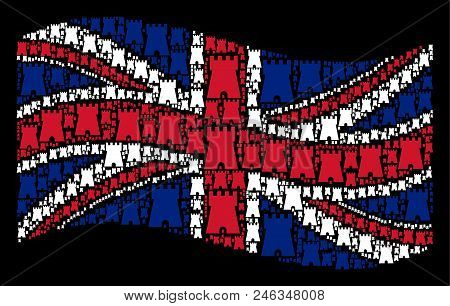 Waving English Flag On A Black Background. Vector Bulwark Tower Design Elements Are Grouped Into Con