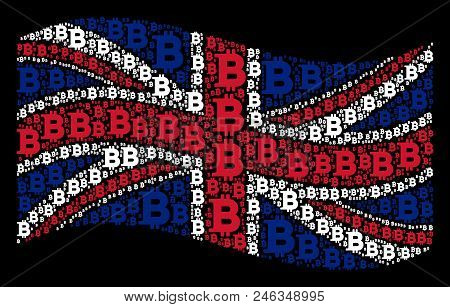 Waving Great Britain Official Flag On A Black Background. Vector Bitcoin Elements Are Grouped Into C
