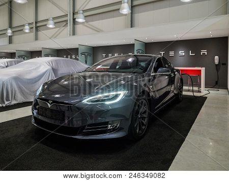 Tilburg, Netherlands - May 31, 2018: New Tesla Car In Factory Tesla Tilburg.. Tesla Motors Assembly