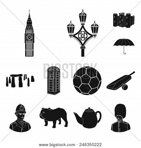 England Country Black Icons In Set Collection For Design.travel And Attractions Vector Symbol Stock