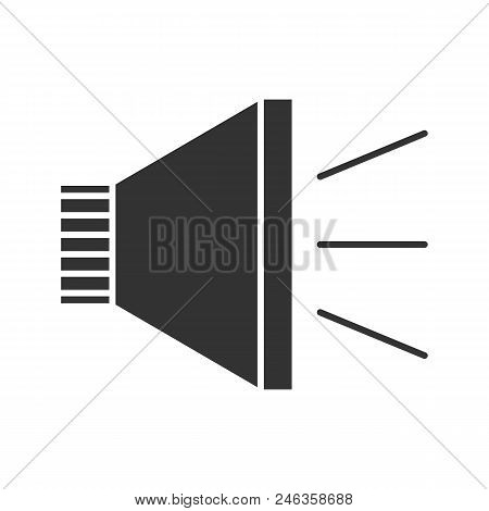 Megaphone Glyph Icon. Announcement. Bullhorn. Silhouette Symbol. Negative Space. Vector Isolated Ill