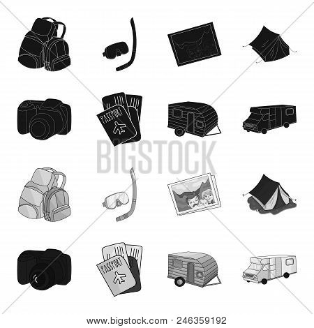 Vacation, Photo, Camera, Passport .family Holiday Set Collection Icons In Black, Monochrome Style Ve