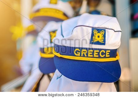Greek sailor cap with blurred background