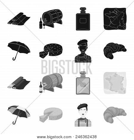 Umbrella, Traditional, Cheese, Mime .france Country Set Collection Icons In Black, Monochrome Style