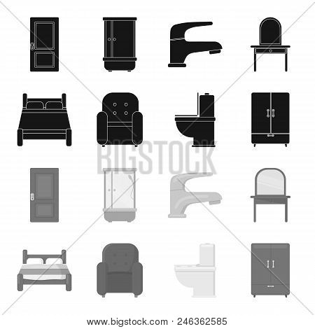 A Bed, An Armchair, A Toilet, A Wardrobe.furniturefurniture Set Collection Icons In Black, Monochrom