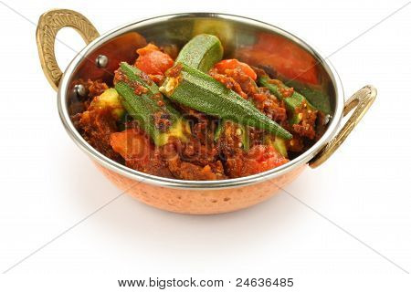 bhindi masala in kadai, okra curry, on white background poster
