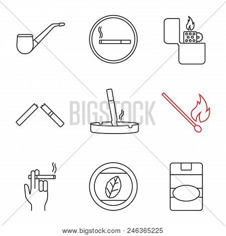 Smoking Linear Icons Set. Tobacco Leaf, Pipe, Smoking, Lighter, Broken And Stubbed Out Cigarettes, M