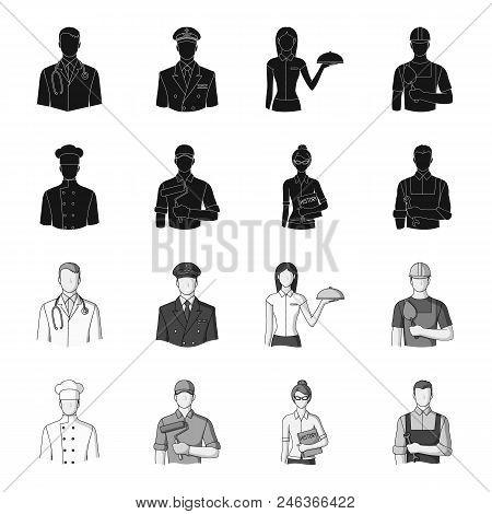 Cook, Painter, Teacher, Locksmith Mechanic.profession Set Collection Icons In Black, Monochrome Styl