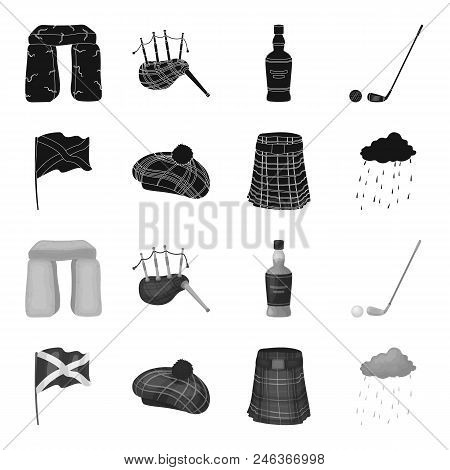 Flag, Kilt, Rainy Weather, Cap.scotland Country Set Collection Icons In Black, Monochrome Style Vect