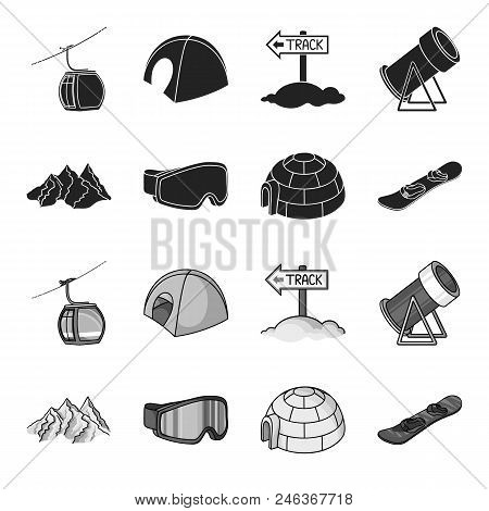 Mountains, Goggles, An Igloo, A Snowboard. Ski Resort Set Collection Icons In Black, Monochrome Styl