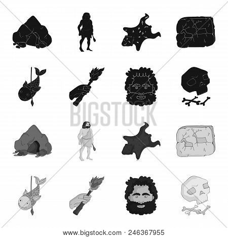 Primitive, Fish, Spear, Torch .stone Age Set Collection Icons In Black, Monochrome Style Vector Symb