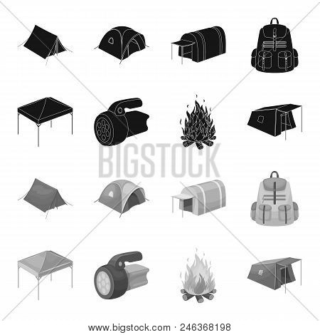Awning, Fire And Other Tourist Equipment.tent Set Collection Icons In Black, Monochrome Style Vector