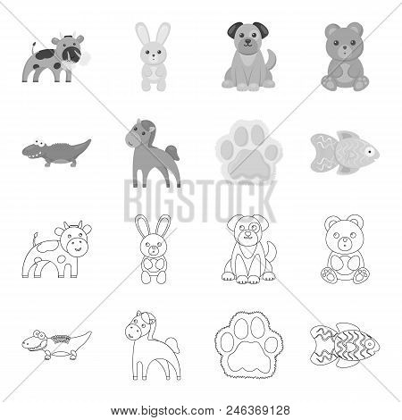 An Unrealistic Outline, Monochrome Animal Icons In Set Collection For Design. Toy Animals Vector Sym