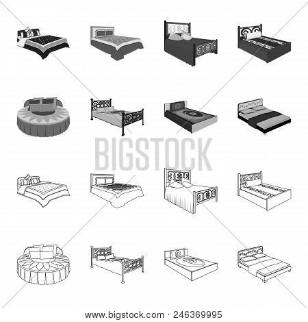 Different Beds Outline, Monochrome Icons In Set Collection For Design. Furniture For Sleeping Vector