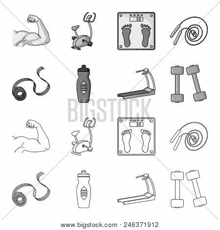 Measuring Tape, Water Bottle, Treadmill, Dumbbells. Fitnes Set Collection Icons In Outline, Monochro