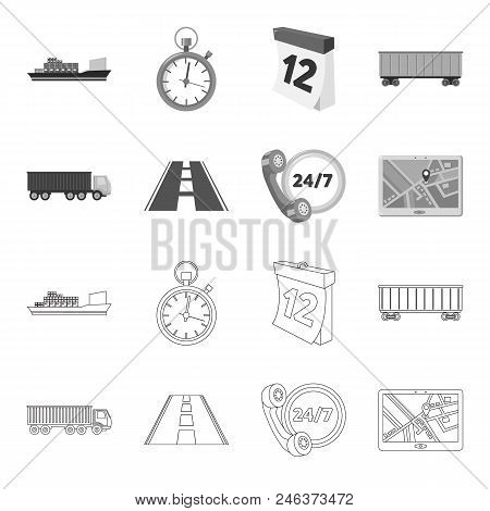 Round The Clock, Road, Truck, Jps.loqistic, Set Collection Icons In Outline, Monochrome Style Vector