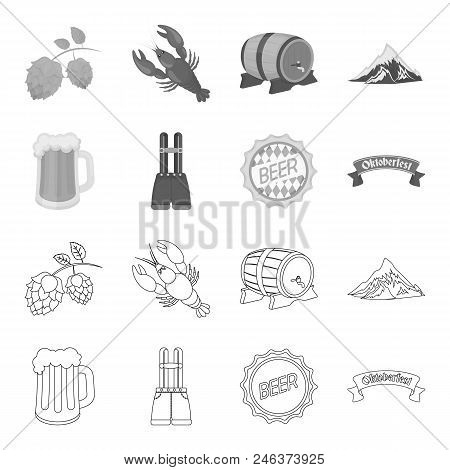 Shorts With Suspenders, A Glass Of Beer, A Sign, An Emblem. Oktoberfest Set Collection Icons In Outl
