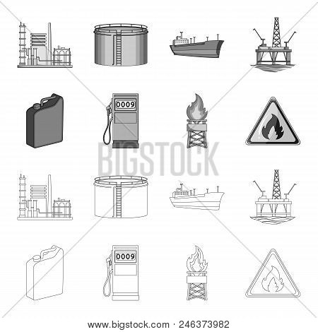 Canister For Gasoline, Gas Station, Tower, Warning Sign. Oil Set Collection Icons In Outline, Monoch