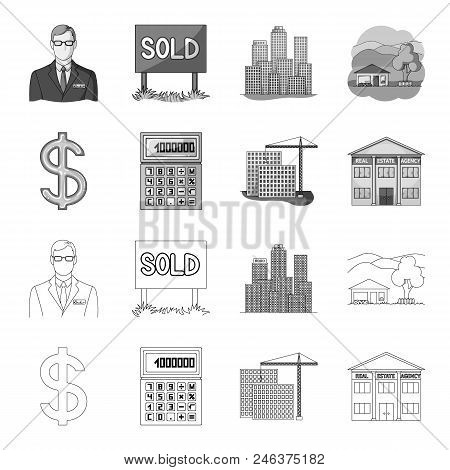 Calculator, Dollar Sign, New Building, Real Estate Offices. Realtor Set Collection Icons In Outline,