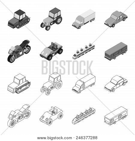 Motorcycle, Golf Cart, Train, Bus. Transport Set Collection Icons In Outline, Monochrome Style Vecto