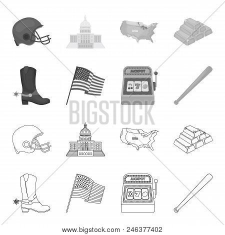 Cowboy Boots, National Flag, Slot Machine, Baseball Bat. Usa Country Set Collection Icons In Outline