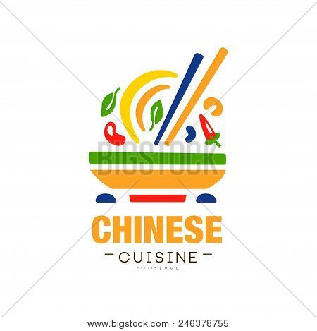 Chinese Cuisine Logo Design, Authentic Traditional Continental Food Label Can Be Used For Shop, Farm