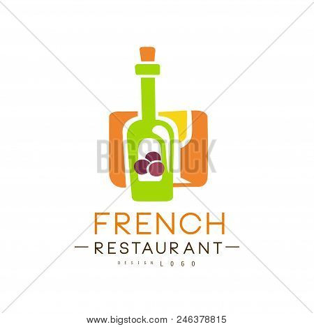French Restaurant Logo Design, Authentic Traditional Continental Food Label Vector Illustration Isol