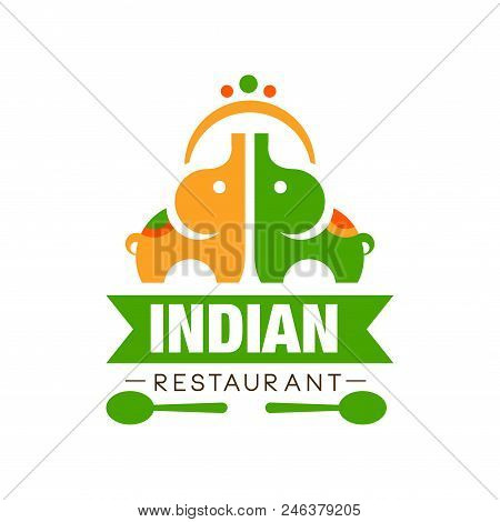 Indian Restaurant Logo Design, Authentic Traditional Continental Food Label Can Be Used For Cafe, Ba
