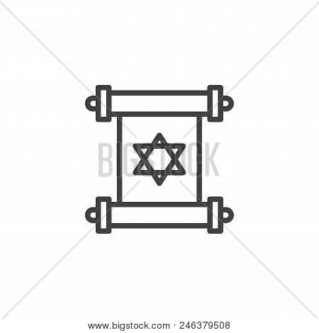 Torah Scroll Outline Icon. Linear Style Sign For Mobile Concept And Web Design. David Star On Scroll